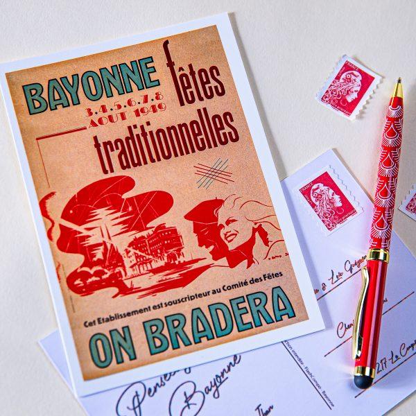 1949 carte postale des fêtes de bayonne