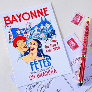 1950 carte postale des fêtes de bayonne