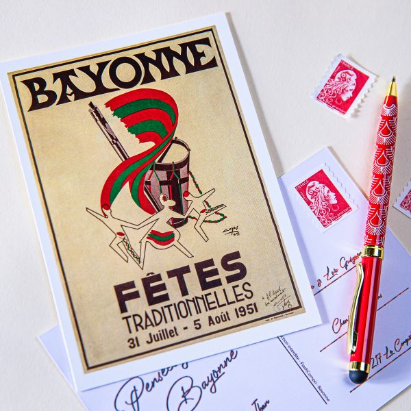 1951 carte postale des fêtes de bayonne