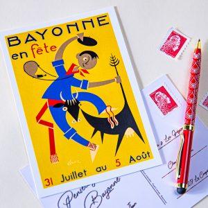 1954 carte postale des fêtes de bayonne