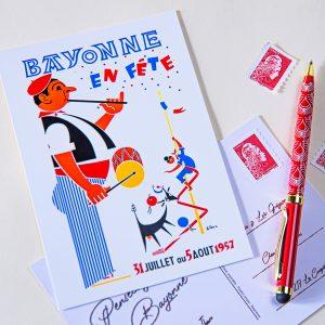 1957 carte postale des fêtes de bayonne