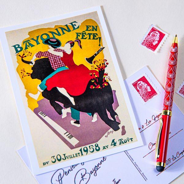 1958 carte postale des fêtes de bayonne