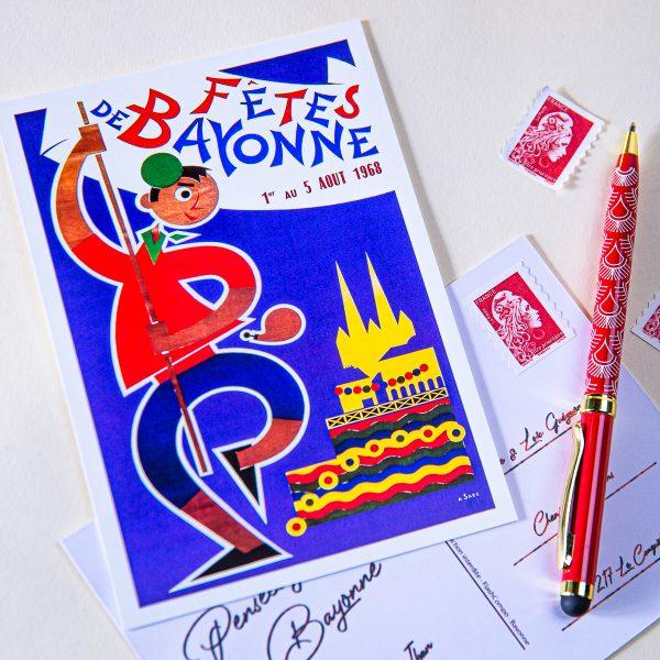 1968 carte postale des fêtes de Bayonne