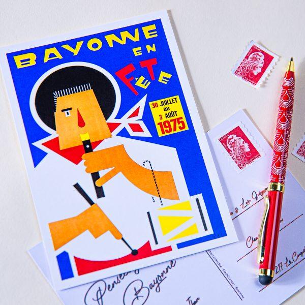 1975 carte postale des fêtes de Bayonne