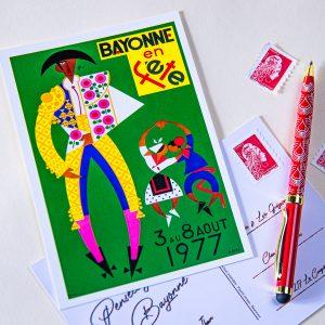 1977 carte postale des fêtes de Bayonne