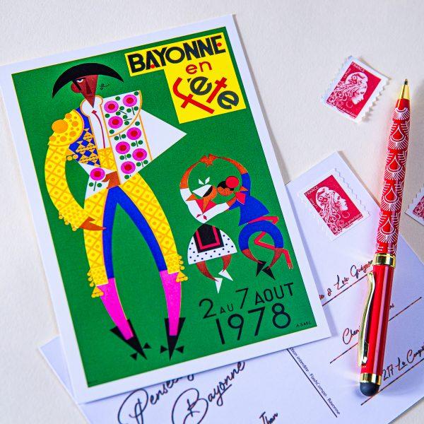1978 carte postale des fêtes de Bayonne