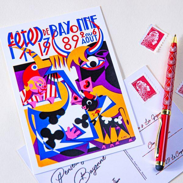1989 carte postale des fêtes de Bayonne